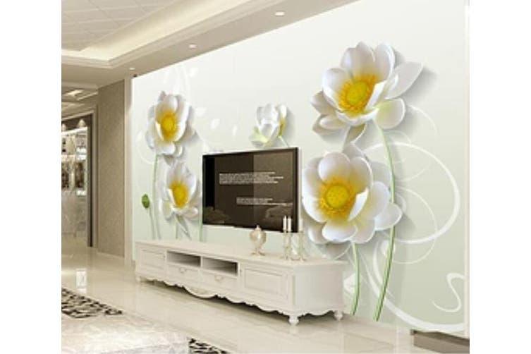 3D Home Wallpaper White Flowers 008 ACH Wall Murals Woven paper (need glue), XXXL 416cm x 254cm (WxH)(164''x100'')
