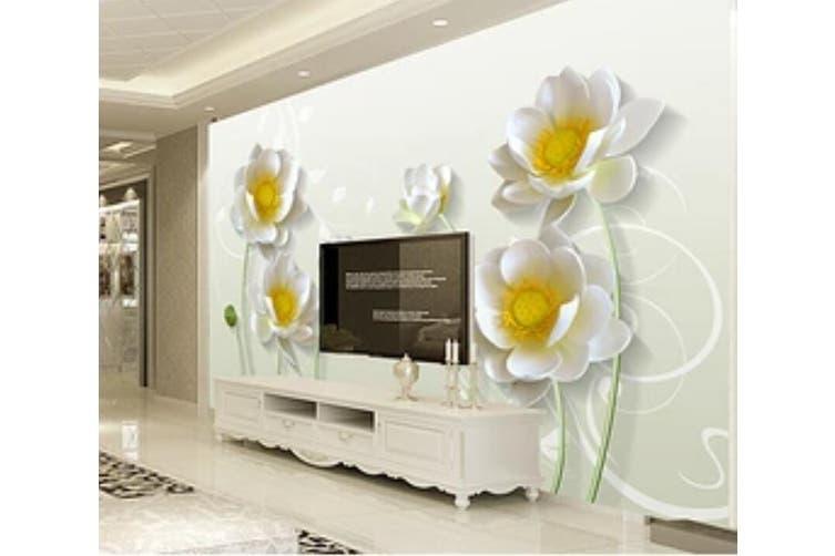 3D Home Wallpaper White Flowers 008 ACH Wall Murals Self-adhesive Vinyl, XL 208cm x 146cm (WxH)(82''x58'')