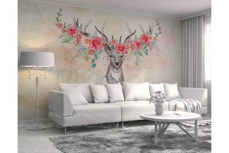 3D Home Wallpaper Elk Flowers 007 ACH Wall Murals Woven paper (need glue), XXL 312cm x 219cm (WxH)(123''x87'')