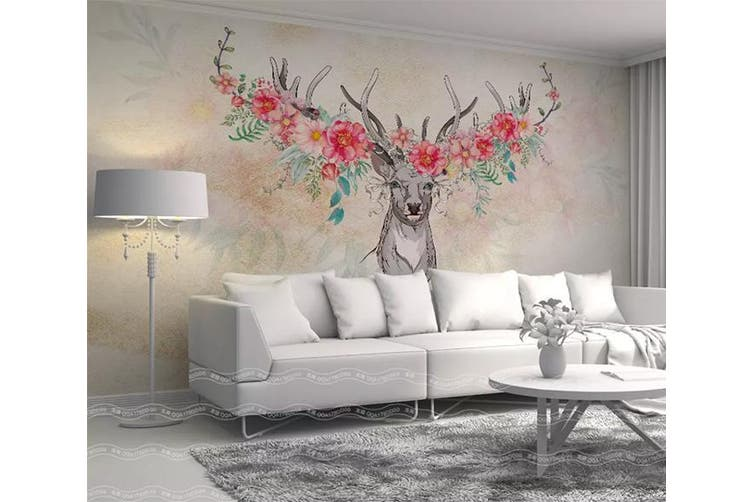 3D Home Wallpaper Elk Flowers 007 ACH Wall Murals Self-adhesive Vinyl, XL 208cm x 146cm (WxH)(82''x58'')