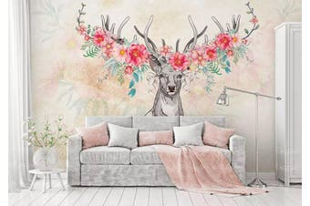 3D Home Wallpaper Elk Flowers 007 ACH Wall Murals Self-adhesive Vinyl, XXL 312cm x 219cm (WxH)(123''x87'')