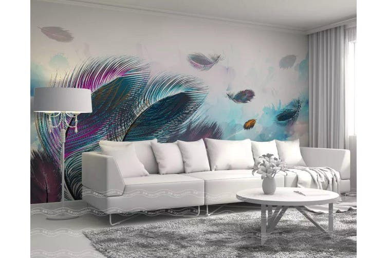 3D Home Wallpaper Colored Feather 006 ACH Wall Murals Woven paper (need glue), XL 208cm x 146cm (WxH)(82''x58'')