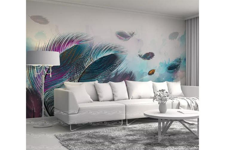 3D Home Wallpaper Colored Feather 006 ACH Wall Murals Self-adhesive Vinyl, XXL 312cm x 219cm (WxH)(123''x87'')