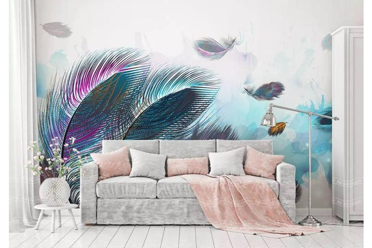 3D Home Wallpaper Colored Feather 006 ACH Wall Murals Self-adhesive Vinyl, XXXL 416cm x 254cm (WxH)(164''x100'')