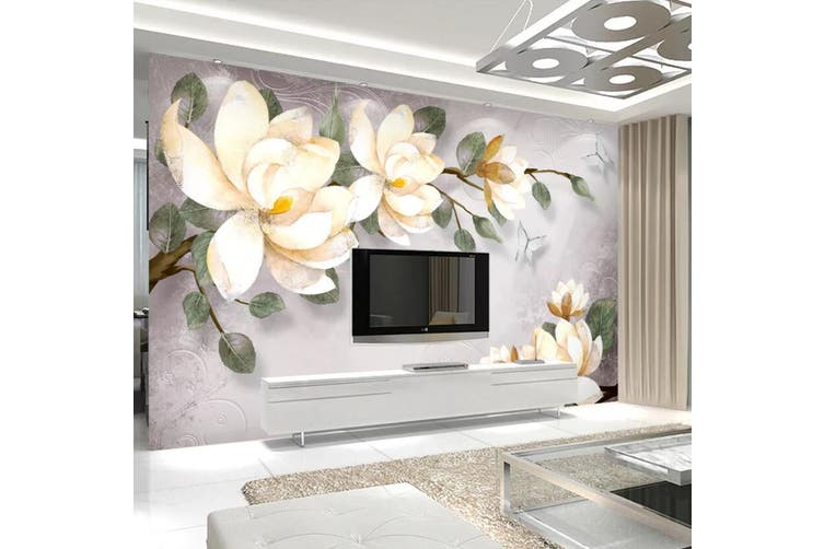 3D Home Wallpaper White Flowers 006 ACH Wall Murals Woven paper (need glue), XXXXL 520cm x 290cm (WxH)(205''x114'')