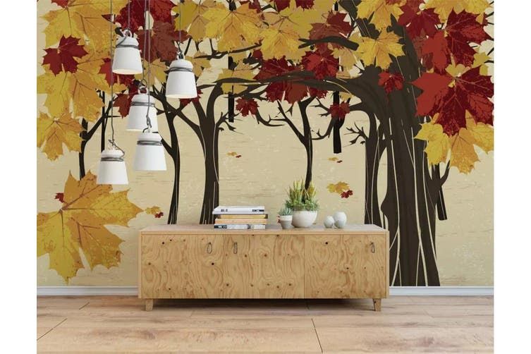 3D Home Wallpaper Colored Leaves 005 ACH Wall Murals Woven paper (need glue), XXXL 416cm x 254cm (WxH)(164''x100'')