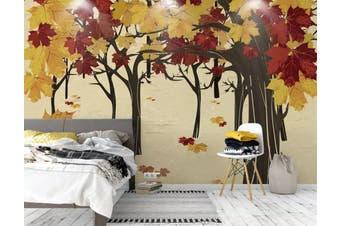 3D Home Wallpaper Colored Leaves 005 ACH Wall Murals Self-adhesive Vinyl, XXXXL 520cm x 290cm (WxH)(205''x114'')