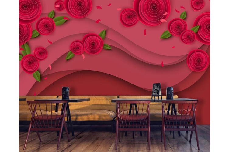 3D Home Wallpaper Red Rose 0Y ACH Wall Murals Woven paper (need glue), XXL 312cm x 219cm (WxH)(123''x87'')