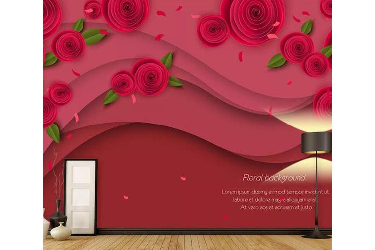 3D Home Wallpaper Red Rose 0Y ACH Wall Murals Woven paper (need glue), XXXXL 520cm x 290cm (WxH)(205''x114'')
