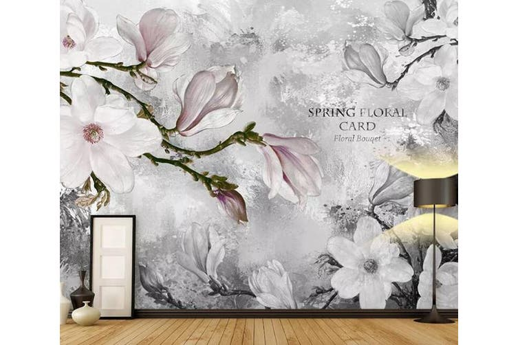 3D Home Wallpaper White Flowers 0W ACH Wall Murals Woven paper (need glue), XXXXL 520cm x 290cm (WxH)(205''x114'')