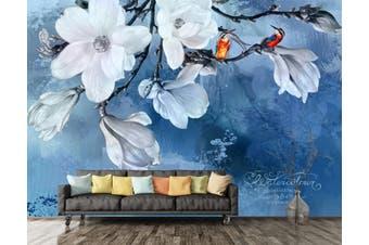 3D Home Wallpaper White Flowers 002 ACH Wall Murals Woven paper (need glue), XXL 312cm x 219cm (WxH)(123''x87'')