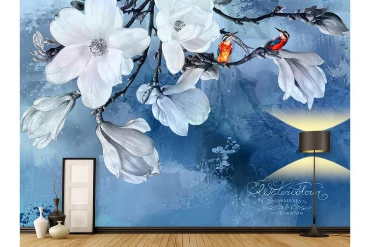 3D Home Wallpaper White Flowers 002 ACH Wall Murals Self-adhesive Vinyl, XL 208cm x 146cm (WxH)(82''x58'')