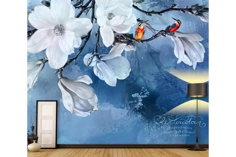 3D Home Wallpaper White Flowers 002 ACH Wall Murals Self-adhesive Vinyl, XXL 312cm x 219cm (WxH)(123''x87'')