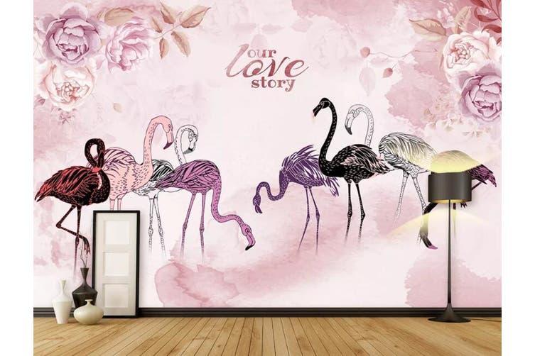 3D Home Wallpaper  Flamingo 1477 ACH Wall Murals Woven paper (need glue), XXL 312cm x 219cm (WxH)(123''x87'')