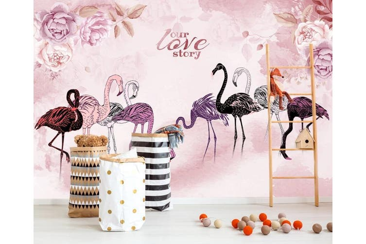 3D Home Wallpaper  Flamingo 1477 ACH Wall Murals Woven paper (need glue), XXXL 416cm x 254cm (WxH)(164''x100'')