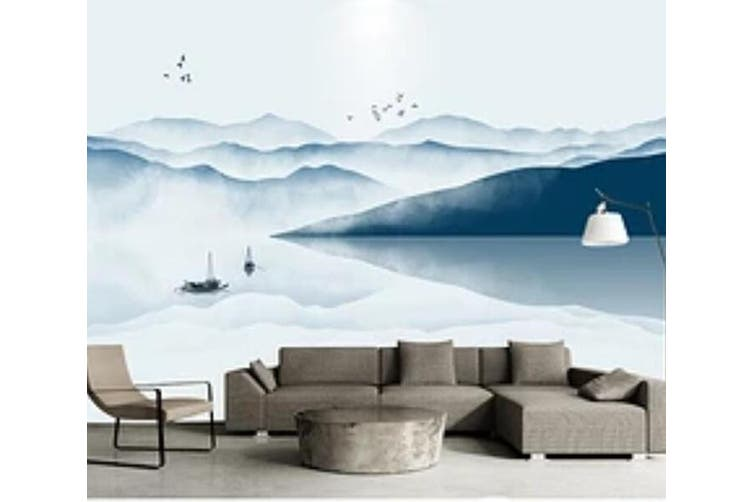 3D Home Wallpaper Lake Boat 1476 ACH Wall Murals Woven paper (need glue), XXL 312cm x 219cm (WxH)(123''x87'')