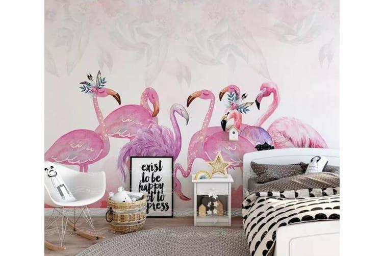 3D Home Wallpaper Pink Flamingo 1473 ACH Wall Murals Woven paper (need glue), XXL 312cm x 219cm (WxH)(123''x87'')