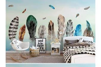 3D Home Wallpaper Colored Feather 1472 ACH Wall Murals Woven paper (need glue), XXXL 416cm x 254cm (WxH)(164''x100'')