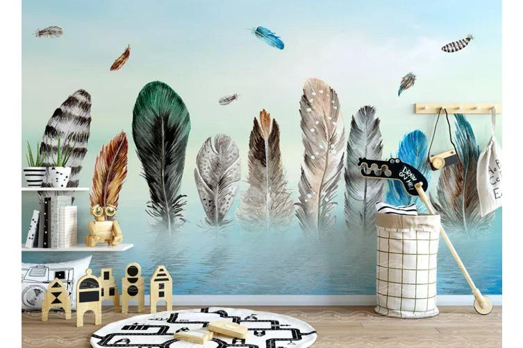 3D Home Wallpaper Colored Feather 1472 ACH Wall Murals Self-adhesive Vinyl, XXL 312cm x 219cm (WxH)(123''x87'')