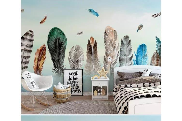 3D Home Wallpaper Colored Feather 1472 ACH Wall Murals Self-adhesive Vinyl, XXXL 416cm x 254cm (WxH)(164''x100'')