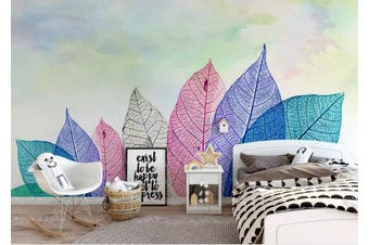 3D Home Wallpaper Colored Leaves 1468 ACH Wall Murals Woven paper (need glue), XXL 312cm x 219cm (WxH)(123''x87'')