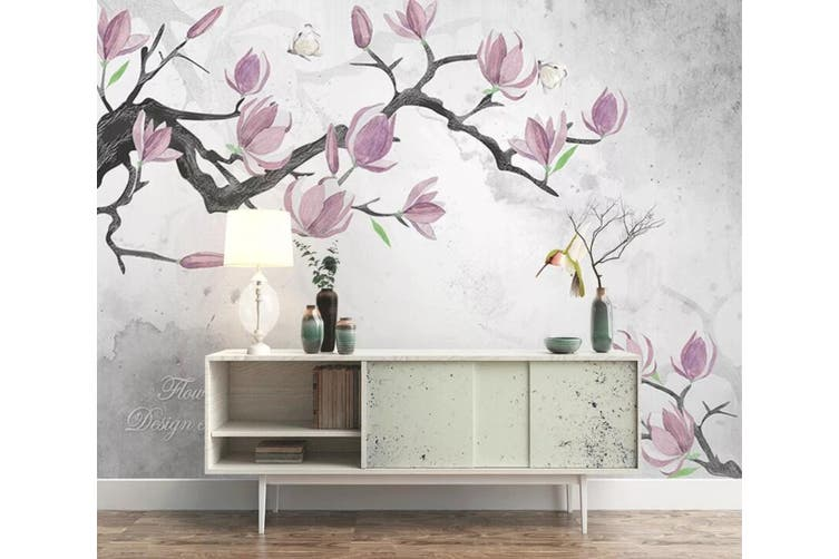 3D Home Wallpaper Pink Flowers 1466 ACH Wall Murals Self-adhesive Vinyl, XL 208cm x 146cm (WxH)(82''x58'')