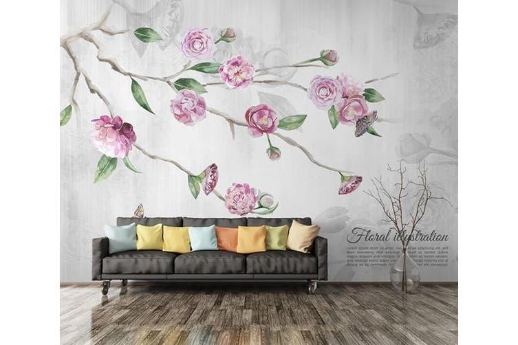 3D Home Wallpaper Pink Flowers 1464 ACH Wall Murals Self-adhesive Vinyl, XXL 312cm x 219cm (WxH)(123''x87'')
