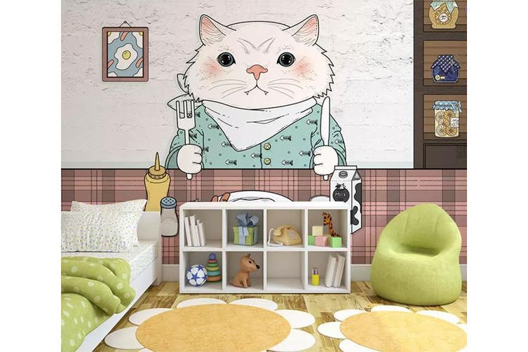 3D Home Wallpaper Kitten Eating 1457 ACH Wall Murals Self-adhesive Vinyl, XXL 312cm x 219cm (WxH)(123''x87'')