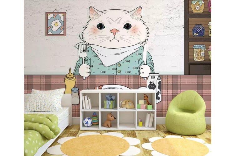 3D Home Wallpaper Kitten Eating 1457 ACH Wall Murals Self-adhesive Vinyl, XXXXL 520cm x 290cm (WxH)(205''x114'')