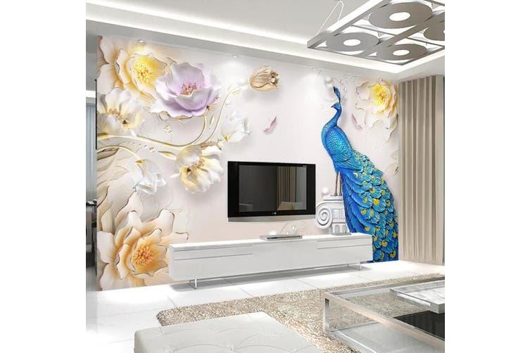 3D Home Wallpaper Peacock 1456 ACH Wall Murals Woven paper (need glue), XXXXL 520cm x 290cm (WxH)(205''x114'')