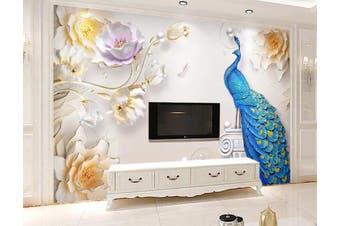 3D Home Wallpaper Peacock 1456 ACH Wall Murals Self-adhesive Vinyl, XL 208cm x 146cm (WxH)(82''x58'')