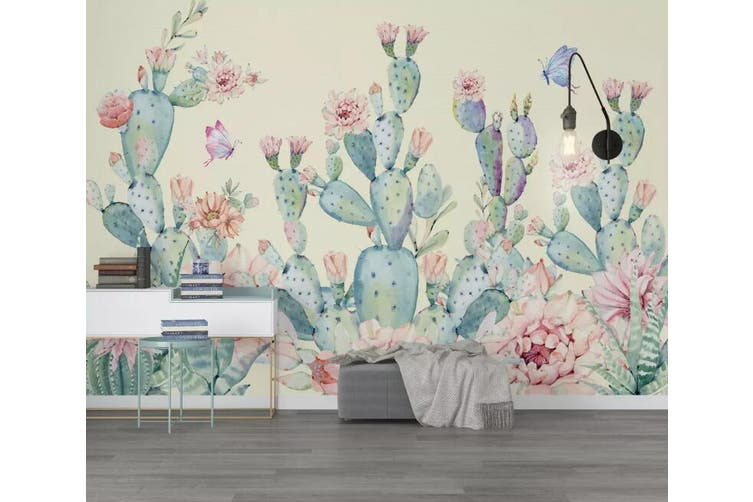 3D Home Wallpaper Cactus 1454 ACH Wall Murals Woven paper (need glue), XXL 312cm x 219cm (WxH)(123''x87'')