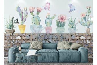 3D Home Wallpaper Cactus 1453 ACH Wall Murals Woven paper (need glue), XXL 312cm x 219cm (WxH)(123''x87'')