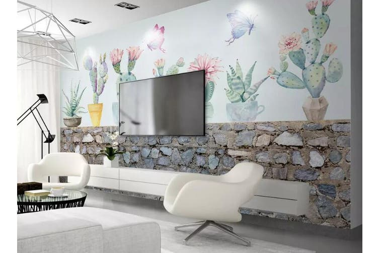 3D Home Wallpaper Cactus 1453 ACH Wall Murals Self-adhesive Vinyl, XXXL 416cm x 254cm (WxH)(164''x100'')