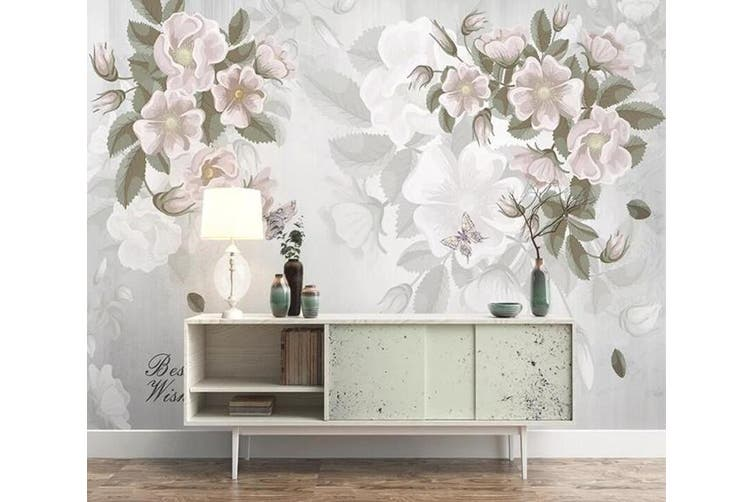 3D Home Wallpaper White Flowers 1461 ACH Wall Murals Self-adhesive Vinyl, XL 208cm x 146cm (WxH)(82''x58'')