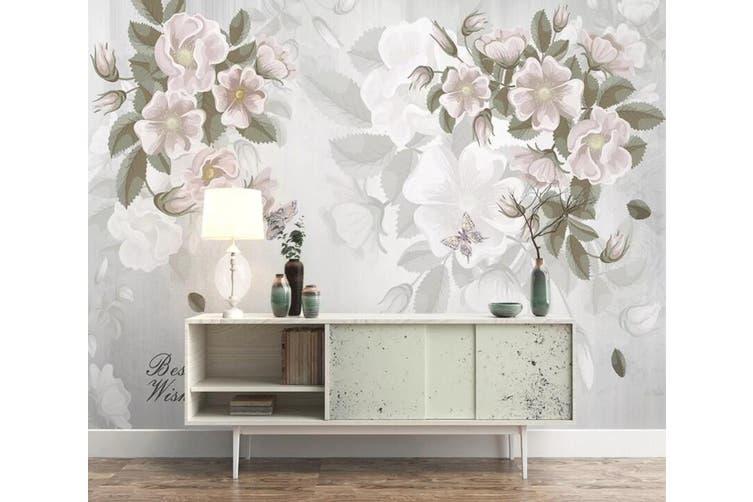 3D Home Wallpaper White Flowers 1461 ACH Wall Murals Self-adhesive Vinyl, XXXXL 520cm x 290cm (WxH)(205''x114'')