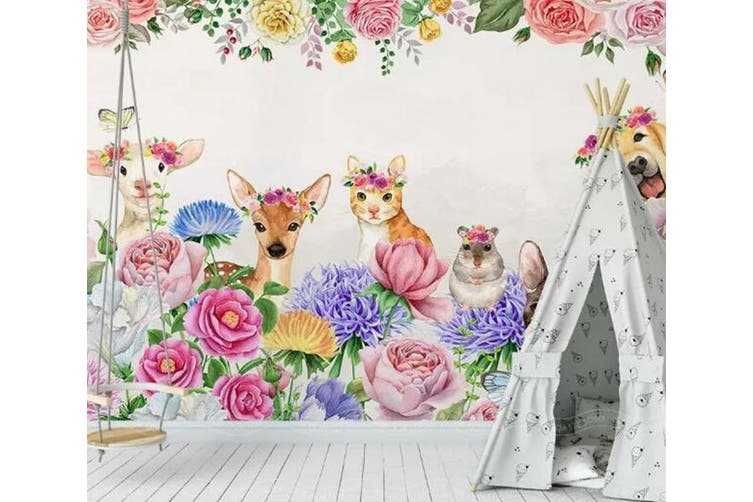 3D Home Wallpaper Pink Fawn 1451 ACH Wall Murals Woven paper (need glue), XXXL 416cm x 254cm (WxH)(164''x100'')
