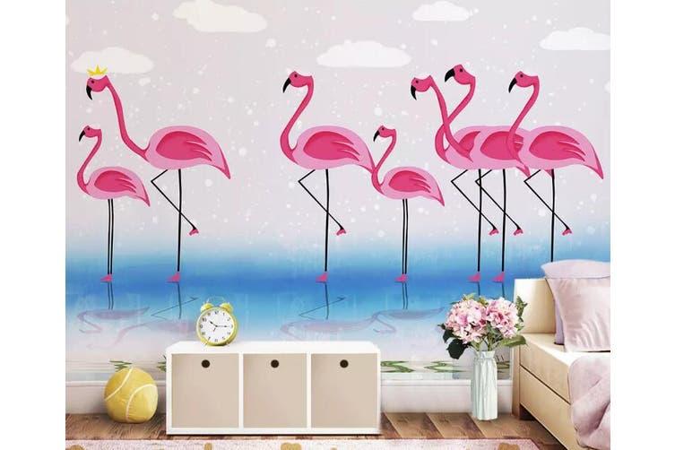 3D Home Wallpaper Pink Flamingo 1449 ACH Wall Murals Woven paper (need glue), XXL 312cm x 219cm (WxH)(123''x87'')