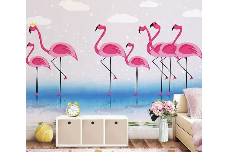 3D Home Wallpaper Pink Flamingo 1449 ACH Wall Murals Self-adhesive Vinyl, XXXL 416cm x 254cm (WxH)(164''x100'')