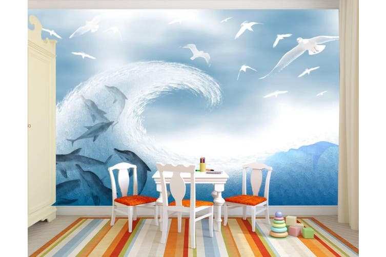 3D Home Wallpaper Wave Shark 1447 ACH Wall Murals Woven paper (need glue), XXL 312cm x 219cm (WxH)(123''x87'')