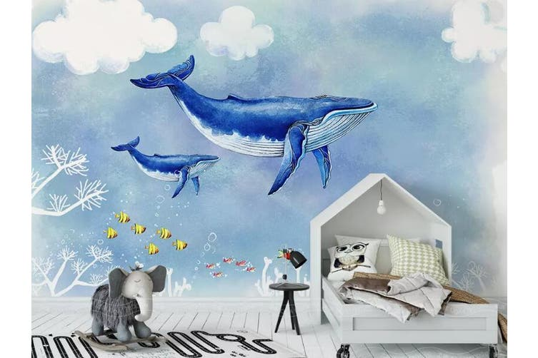 3D Home Wallpaper Blue Whale 1443 ACH Wall Murals Woven paper (need glue), XXL 312cm x 219cm (WxH)(123''x87'')