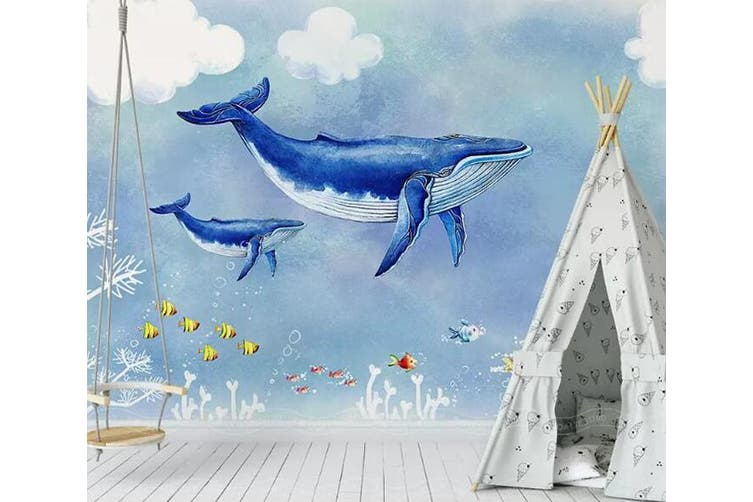 3D Home Wallpaper Blue Whale 1443 ACH Wall Murals Woven paper (need glue), XXXXL 520cm x 290cm (WxH)(205''x114'')