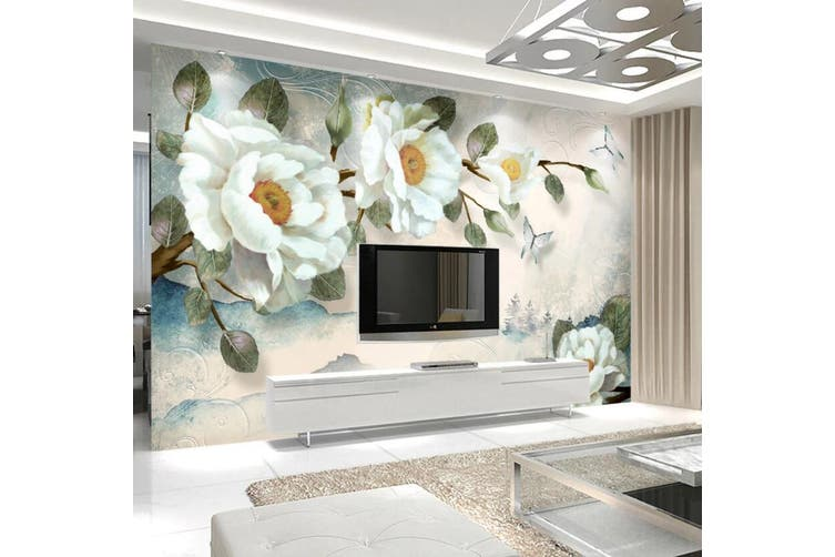 3D Home Wallpaper White Flowers 1440 ACH Wall Murals Woven paper (need glue), XL 208cm x 146cm (WxH)(82''x58'')