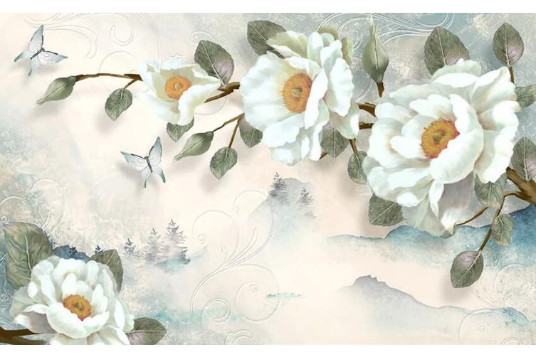 3D Home Wallpaper White Flowers 1440 ACH Wall Murals Self-adhesive Vinyl, XXXXL 520cm x 290cm (WxH)(205''x114'')