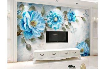 3D Home Wallpaper Blue Flowers 1439 ACH Wall Murals Woven paper (need glue), XL 208cm x 146cm (WxH)(82''x58'')