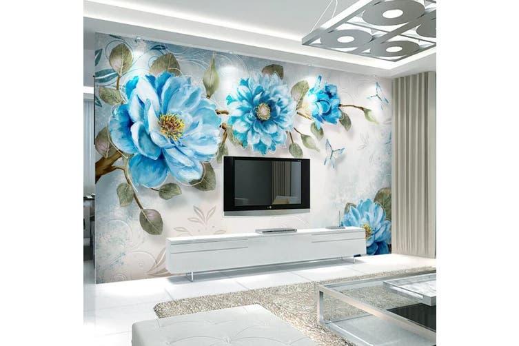 3D Home Wallpaper Blue Flowers 1439 ACH Wall Murals Woven paper (need glue), XXXL 416cm x 254cm (WxH)(164''x100'')