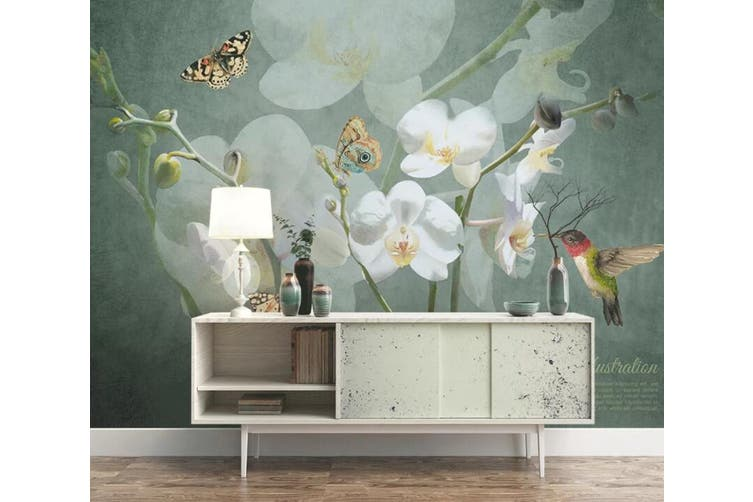 3D Home Wallpaper Flower Butterfly 1438 ACH Wall Murals Woven paper (need glue), XL 208cm x 146cm (WxH)(82''x58'')