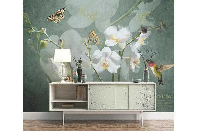 3D Home Wallpaper Flower Butterfly 1438 ACH Wall Murals Woven paper (need glue), XXL 312cm x 219cm (WxH)(123''x87'')