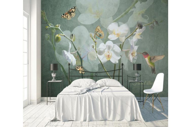 3D Home Wallpaper Flower Butterfly 1438 ACH Wall Murals Self-adhesive Vinyl, XL 208cm x 146cm (WxH)(82''x58'')