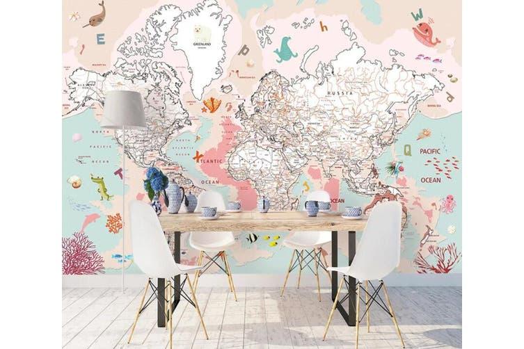 3D Home Wallpaper Pink Map 1435 ACH Wall Murals Woven paper (need glue), XXXL 416cm x 254cm (WxH)(164''x100'')